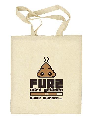 Shirtstreet24, Furz wird geladen..., Natur Stoffbeutel Jute Tasche (ONE SIZE) Natur