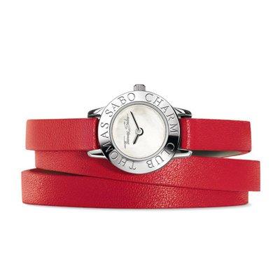 Thomas Sabo wa0138m-253–202–20mm–Orologio da donna, cinturino in pelle colore rosso