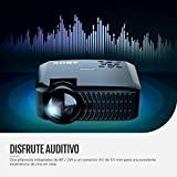 Proyector ABOX Resolución Nativa 1280*720p, LED Video Mini Portátil Proyector A2, Brillo Mejorado 60%, Soporte 1080P Full HD, Compatible con HDMI VGA AV USB Micro SD Android iOS, Negro