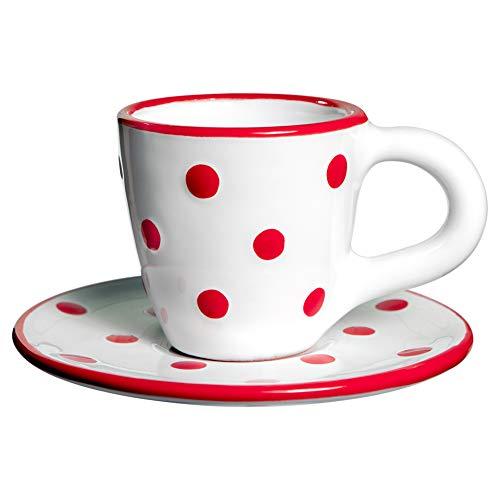 City to Cottage | Tasse et sous tasse à café | blanche à pois rouges en céramique faite et peinte à la main | 60ml