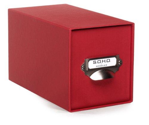 Rössler Papier 1327452360, Aufbewahrungs CD-Schubladenbox, Unifarben rot