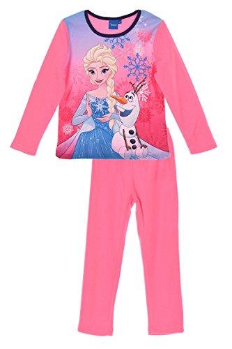 Disney Frozen Die Eiskönigin Kinder Pyjama (2041) -Elsa & Anna Schlafanzug Set für Mädchen mit langarm Oberteil und Schlafanzughose mit Disney Frozen Motiven, pink, Größe: 116 (Set Langarm-schlafanzug)