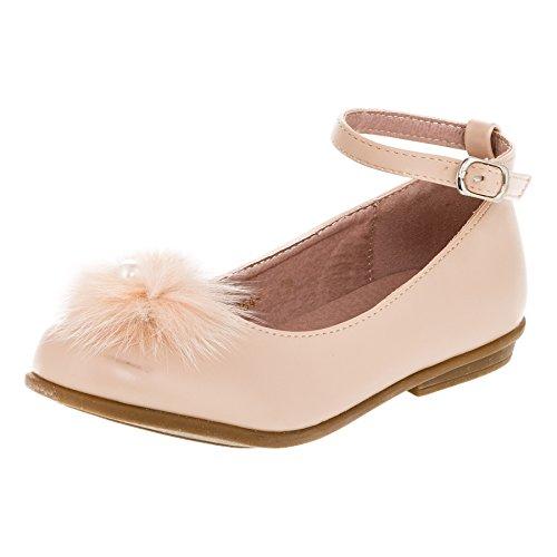 Doremi Festliche Mädchen Ballerina Schuhe mit Kunstfell und Perle M371be Beige 34