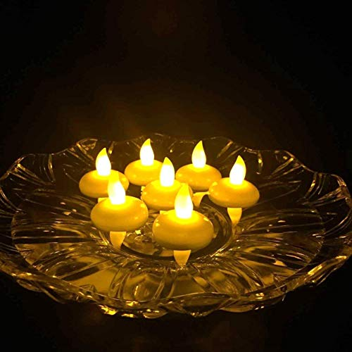 atcket (Yellow, pack of 12) battery included LED Floating Tealight Waterproof Flameless Candle For Festival Fiesta Wedding