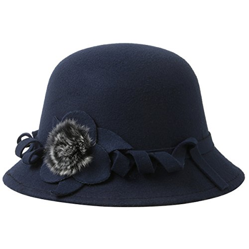 Butterme Frauen Damen Vintage Wool Round Bowler Hat Fedora Derby Hüte Vintage Cloche Hüte Bucket Cap Hut Navy blau (Damen Fleece Cloche Hut)