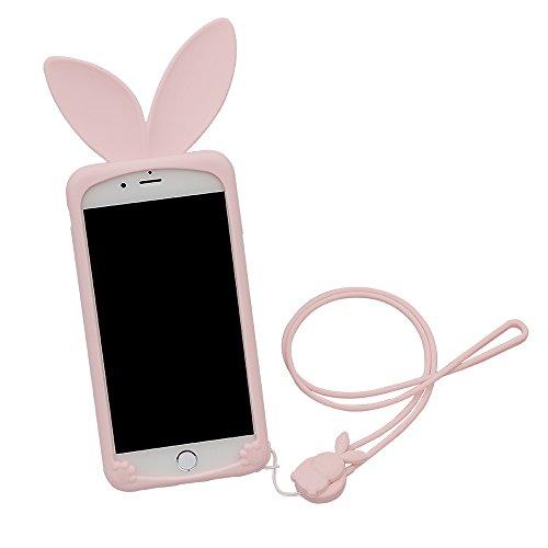 """Hülle für iPhone 7,xhorizon TM Süße weiche Gummi - Handyhülle in Form von Hasenohren für iPhone 7 [4.7""""] rosa"""