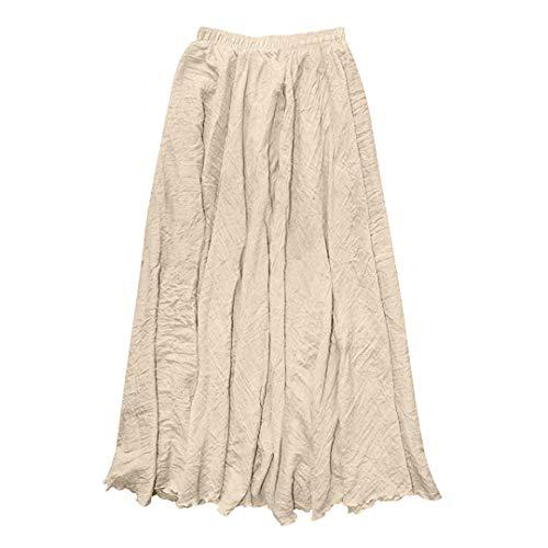 NPRADLA 2018 Lose Damen Rock Lang Elegant Frauen Einfarbig böhmischen Stil elastische Taille Band Baumwolle Leinen Lange Maxi Rock Kleid -