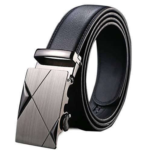 Cinturón Hombre Cuero De La PU Correa del Vestido De Trinquete con Hebilla Automática Casual Negro Correa De Cintura De La Correa De La Pretina De Los Pantalones Vaqueros (Longitud 130cm / 51.2')