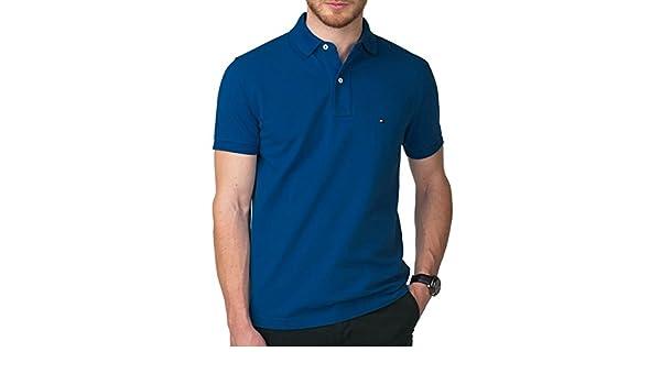 b698e4e5a1853a Tommy Hilfiger Polo Shirt Mens Slim Fit Twilight Blue (Medium)   Amazon.co.uk  Clothing