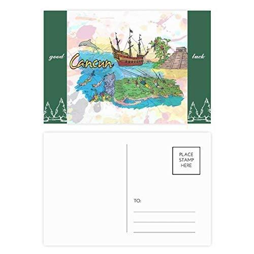 Cancun Mexiko-Insel Maya-Tempel Glücksbringer Postkarten-Set Karte Postkarte Seite 20 Stück