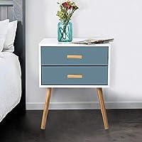 LEPAK Bedside Tables with 2 Blue Drawers Scandinavian Nightstand Cabinet for Bedroom Living Room Furniture(Blue(2 Drawer))