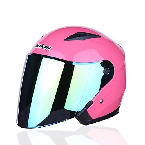 Lidauto Motorradhalbhelme mit Doppelobjektiv E-Bikes Schutz Außerhalb Sport,Pink,XXL