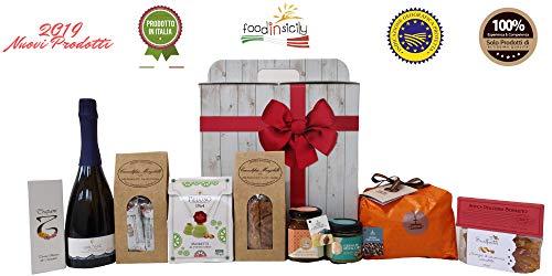 Confezione regalo natalizia originale hyblea con 10 prodotti siciliani di altissima qualità| panettone fiasconaro | crema di pistacchio | idee regalo natale | cesta regalo alimentare | regali natale 2019