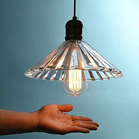 LYNDM  Edison in stile loft Vintage industriale lampada illumina Ciondolo con vetro funzione ombrello ombra Lampadario Lampara(#DD2238)