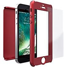 Funda iPhone SE 360 Grados + Cristal Templado, Mobilyos® [ 360 ° ] [ Rojo ] Case, Cover, Funda iPhone 5s 360 Grados