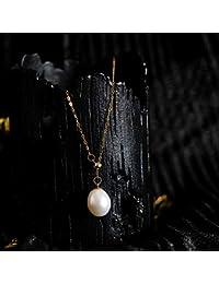 793916db527b Lnyy Collar de Perlas Agua Dulce Perla Collar Temperamento Cientos Natural  para Enviar la Mejor Amiga