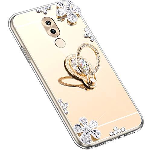 Uposao Kompatibel mit Huawei Honor 6X Hülle Silikon Spiegel Handyhülle Schutzhülle mit 360 Grad Ring Ständer Glitzer Kristall Strass Diamant Mädchen Handy Tasche Silikon Hülle Case,Gold