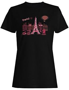 París Francia Amor Divertido Novedad Nuevo camiseta de las mujeres -k64f