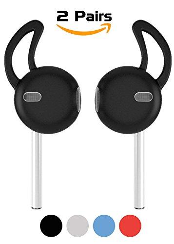 Cover Airpods Accessori, Bidear Gancio Auricolare Silicone Custodia Auricolari per Apple iPhone e Airpods 7/6 / 6S / Plus / 5SE EarPods(Nero)