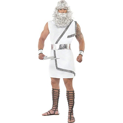 NET TOYS Costume uomo Zeus Giove Olimpo dio greco romano bianco - M 52/54