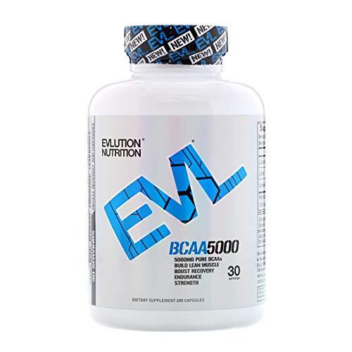 Evlution Nutrition BCAA 5000 | Suplemento En Pastillas De Aminoácidos Ramificados Proporciona 5 Gramos De BCAA Calidad Premium Cada Toma | Contiene 240 Capsulas