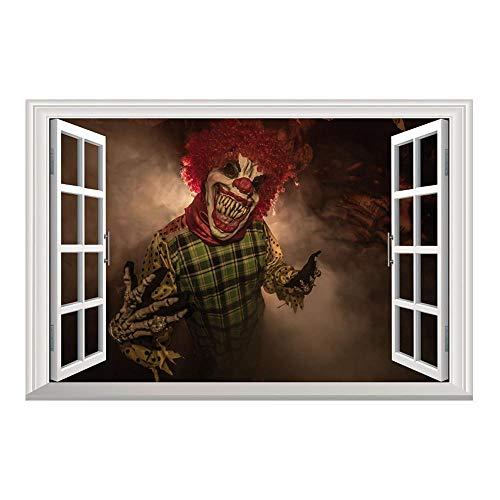 T-YXM Adesivo Murale 3D Fai da Te Halloween Demone Pagliaccio Falso Collage di Carta da Parati di Windows vivono Ostello Bedroom Decor