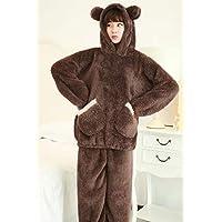 YTNGA Pijamas De Mujer Conjunto de Pijamas para Mujer de otoño Pijamas con Capucha Ropa de Dormir Engrosadas Pijamas Calientes Conjuntos, Marrón, M