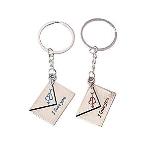 JK-2 2pcs Paare Schlüsselbund Liebhaber Schlüsselanhänger Silber Ton Nachricht Symbol Schlüsselanhänger Paar Sehr gedruckt Ich Liebe Dich geeignet für Paare zwischen den Geschenken