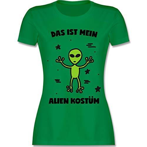 Karneval & Fasching - Das ist Mein Alien Kostüm - XXL - Grün - L191 - Damen Tshirt und Frauen T-Shirt (Basic Alien Kostüm)