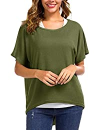 Meyison Damen Lose Asymmetrisch Jumper Sweatshirt Pullover Bluse Oberteile Oversized Tops T Shirt