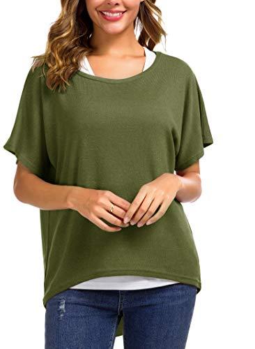 Meyison Damen Lose Asymmetrisch Sweatshirt Pullover Bluse Oberteile Oversized Tops T-Shirt Armee Grün-S -