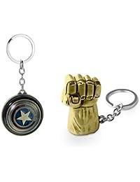 Three Shades Hulk Keychain & Captain America Shield Keychain Avengers Keychain Combo Pack Of 2