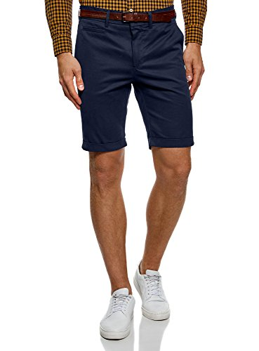 oodji Ultra Herren Baumwoll-Shorts mit Gürtel, Blau, Herstellergröße W0 / DE 46 / EU 40