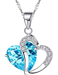 925 Sterling Silber Damen Anhänger Halskette mit Blauem Zirkonia Herz mit Rhodiniert Kette
