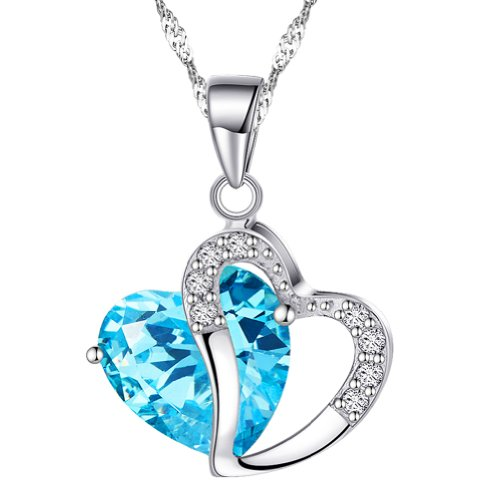 Chaomingzhen 925 Sterling Silver Rhodium Plated Cubic Zirconia Blue Heart Pendant Necklace Women