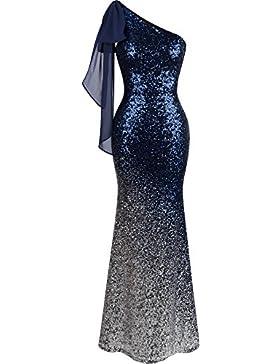 Angel-fashions Da donnas simmetrico Nastro Graduale lustrino Sirena Vestito lungo