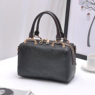 LiZhen autunno e inverno nuovo sulla nuova marea Coreana di piccoli pacchetti pacchetto Boston borsa è elegante borsa Messenger borse donna, rosso Nero
