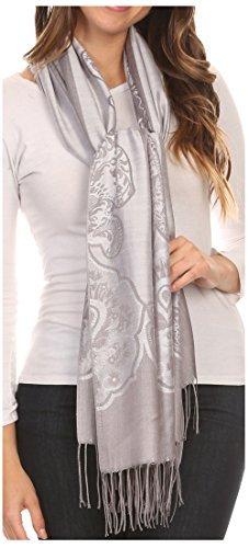 Sakkas 16116 - Maela Lange Extra Wide Traditionelle Patterned Fringe Pashmina-Schal/Scarve - Silber/Grau - OS