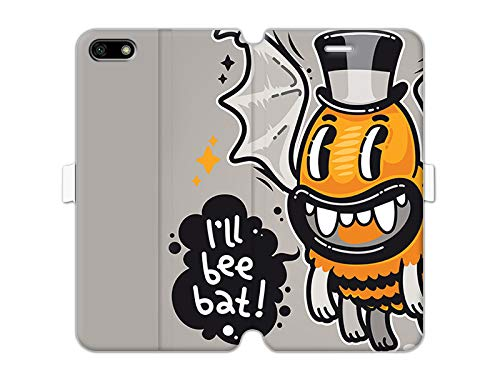 etuo Huawei Honor 7S - Hülle Wallet Book Fantastic - Böse Biene - Handyhülle Schutzhülle Etui Case Cover Tasche für Handy