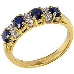 Bague - 181R0619 - 21 - Femme - Or jaune (9 cts) 2.597 Gr - Saphir - Diamant 0.828 Cts - T 52