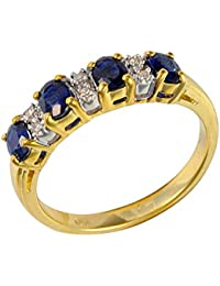 Ivy Gems 9ct Yellow Gold Blue Sapphire and Diamond Half Eternity Ring