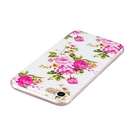 Coque Housse Etui pour iPhone 7/iPhone 8, iPhone 8 Coque en Silicone Noctilucent Etui Housse, iPhone 7 Slim Coque Transparent Soft Etui Housse, iPhone 7 Silicone Case Luminous TPU Protective Gel Cover Noctilucent-Roses