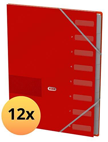 Elba 400116166 - Cartellina Touch Office A4, confezione da 12 con 8 scomparti in cartone con elastico, rosso