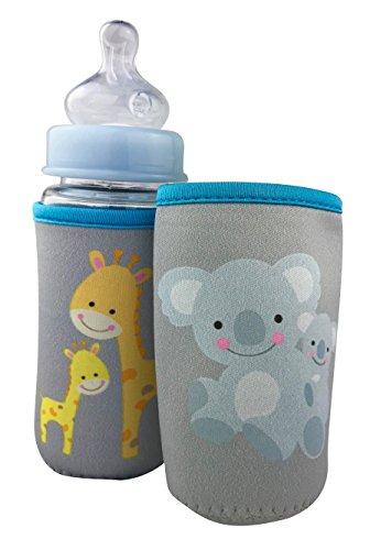 2x Baby Flaschenschutz groß -Babyflasche Schutz - Protection - Motiv: Giraffe & Koala - Baby Flaschenhülle - HECKBO