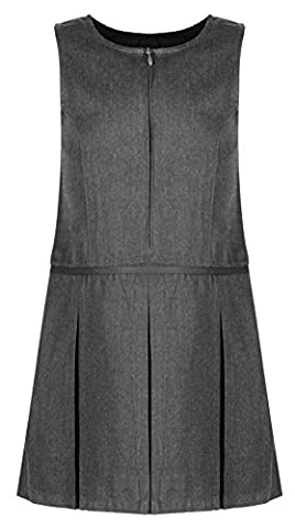 Ex Chainstore (Ages 4-13) Girls School Pinafore 3 Pleat with Waistband Design School Uniform Charcoal Grey
