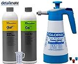 detailmate Aktivschaum Prewash Set: Gloria FM10 Schaumsprüher Foam Master 1L+ Koch Chemie Gentle Snow Foam 1L / Green Star Universalreiniger 1L + 50 ml Messbecher