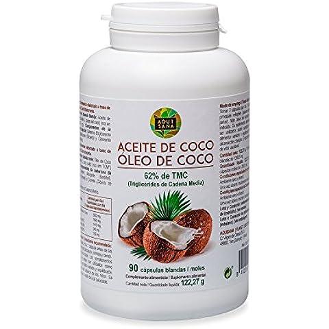 Perlas de aceite de coco, 100% natural, 90 cápsulas, suplemento nutricional, triglicéridos de cadena