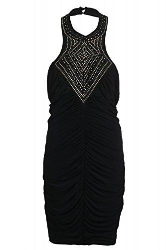 Melrose Kleid Neckholder Mini Jerseykleid Slim Fit Abendkleid Schwarz, Größenauswahl:36