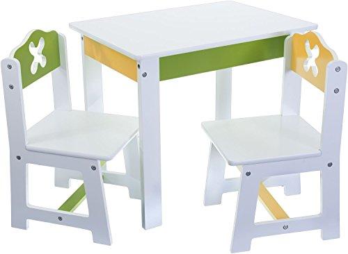 Bieco 74199200 - Kinder Sitzgruppe mit Tisch und 2 Stühle, weiß