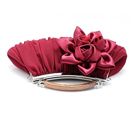 Strawberryer Dîner De Fleurs Avec Le Sac De Mariée Sac De Maquillage De Soirée Multicolore D'embrayage Redwine